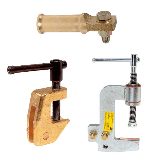 Return clamps for rotating workpieces